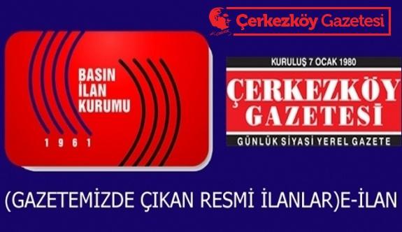 T.C. ÇERKEZKÖY İCRA DAİRESİ 2016/540 TLMT.