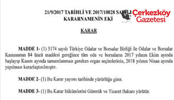 ÇTSO'nun seçimi 2018 Nisan'a ertelendi
