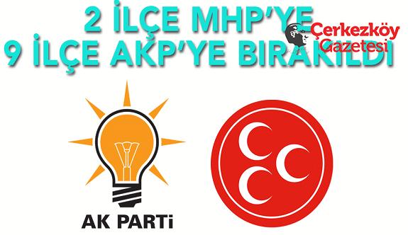 Tekirdağ'da 9 ilçe AKP'nin, 2 ilçe MHP'nin! 