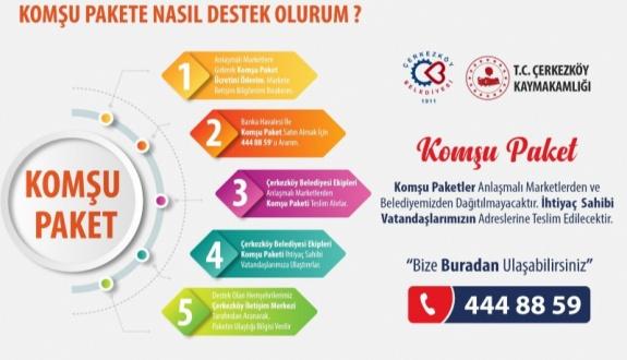 Çerkezköy Kaymakamlığı ve Belediyesinden Komşu Paket kampanyası