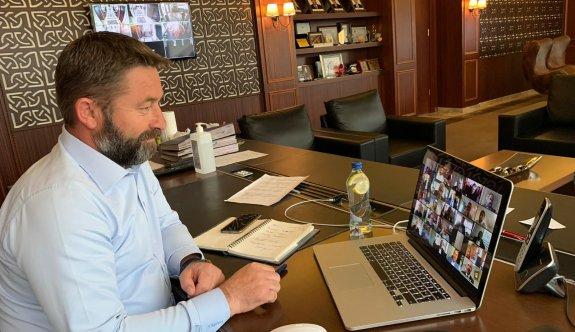 Konsey toplantısına video konferansla katıldı