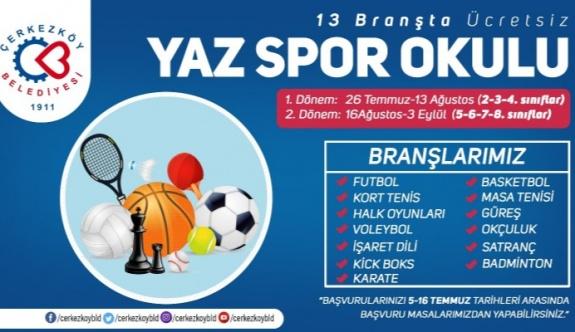 Çerkezköy'de Yaz Spor Okulları kayıtları başlıyor